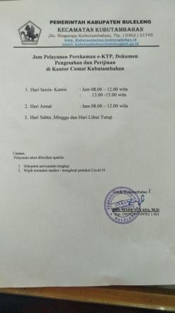 Jam Pelayanan Perekaman E-KTP