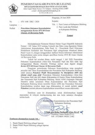 Surat Edaran terbaru Disdukcapil Buleleng Perihal Penerbitan Dokumen Kependudukan