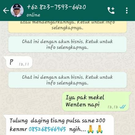 [Hoax] akun whatsapp yang mengaku sebagai Perbekel Desa Bengkala